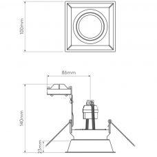Astro Minima Square Fixed Downlight Line Drawing
