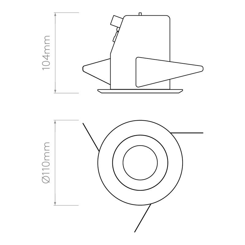 Astro Solway Round Coastal Downlight Line Drawing