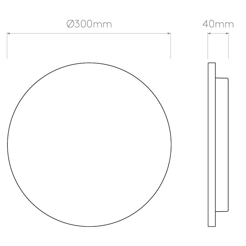 Astro Eclipse Round 300 Concrete Wall Light Line Drawing