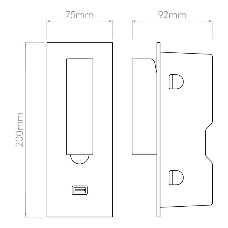 Astro Fuse 3 Usb Wall Light Line Drawing