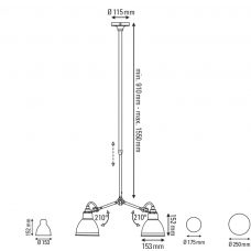 Lampe Grass N305 Ceiling Light Line Drawing