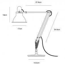 Anglepoise Type 1228 Table Lamp Line Drawing