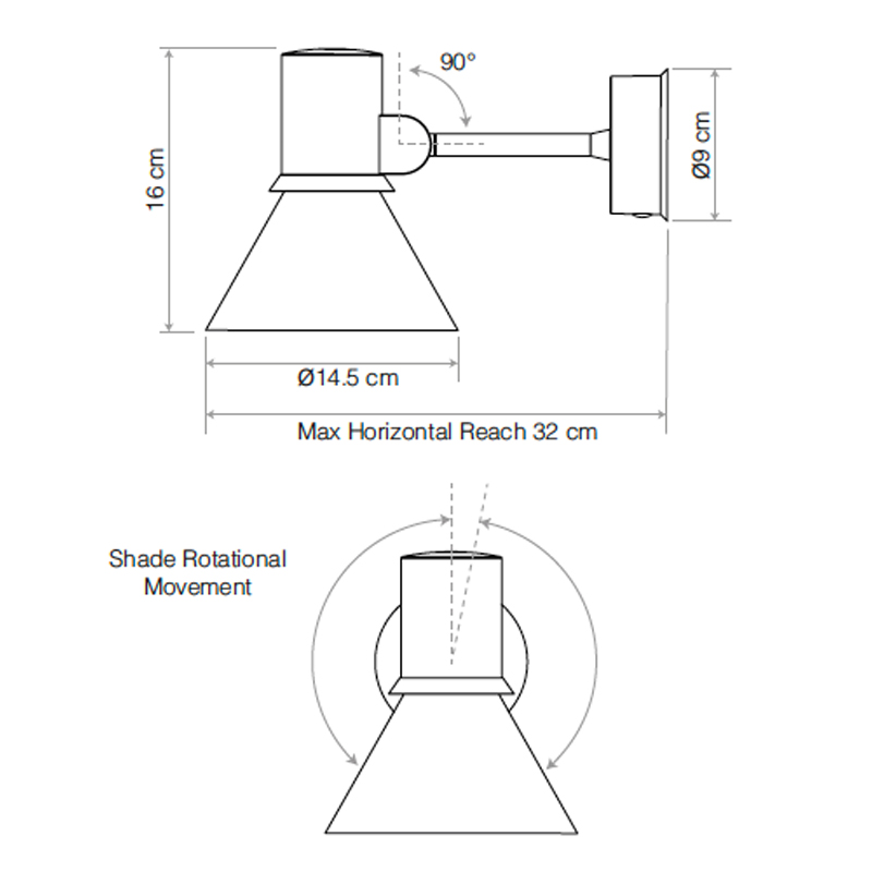 Anglepoise Type 80 Wall Light Line Drawing