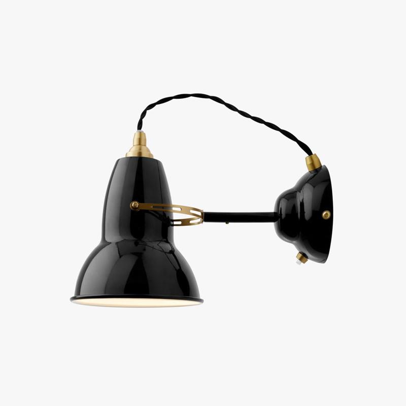 Anglepoise Original 1227 Brass Wall Light Jet Black