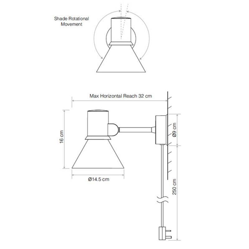 Anglepoise Type 80 Plug & Cable Wall Light Line Drawing