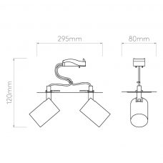 Astro Ascoli Twin Recessed Spotlight Line Drawing