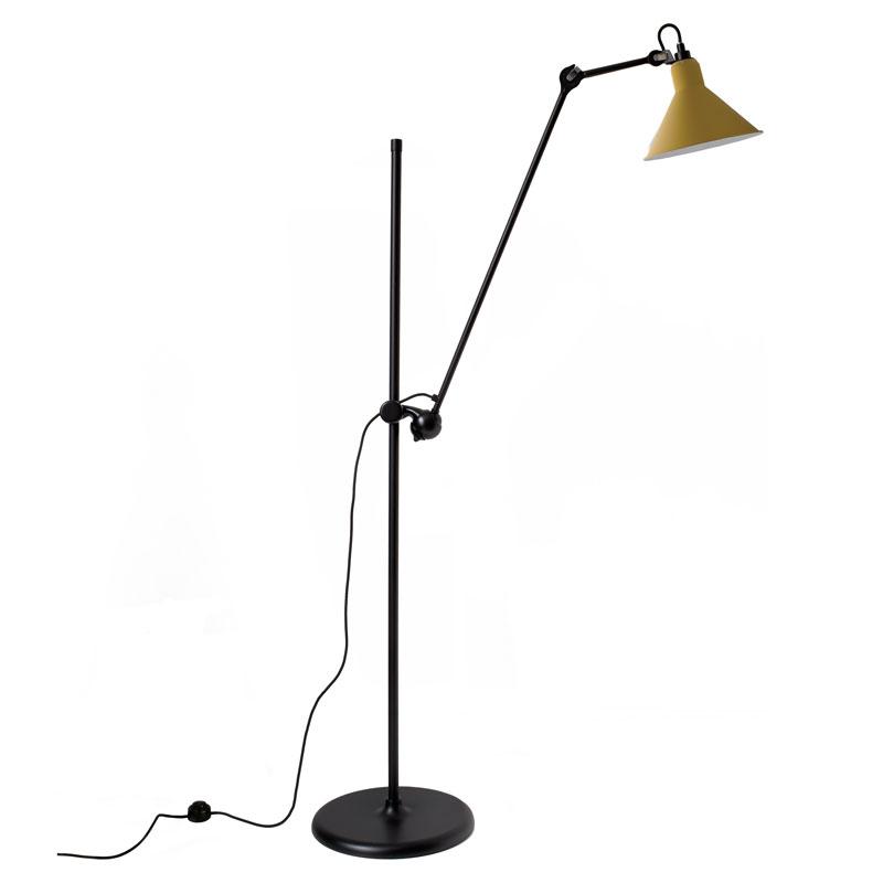 Lampe Gras N215 Floor Lamp Black Body Yellow Shade