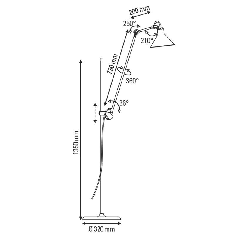 Lampe Gras N215 Floor Lamp Line Drawing
