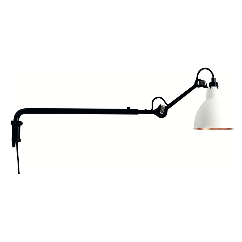 Lampe Gras N203 Plug Switch & Cable Wall Light Black Body White Copper Shade