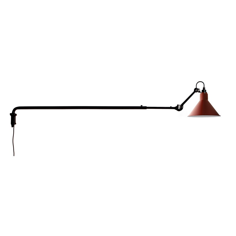 Lampe Gras N213 Plug Switch & Cable Wall Light Black Body Red Shade