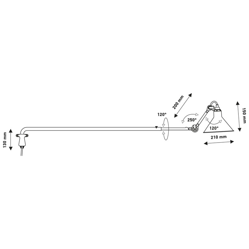 Lampe Gras N213 Plug Switch & Cable Wall Light Line Drawing