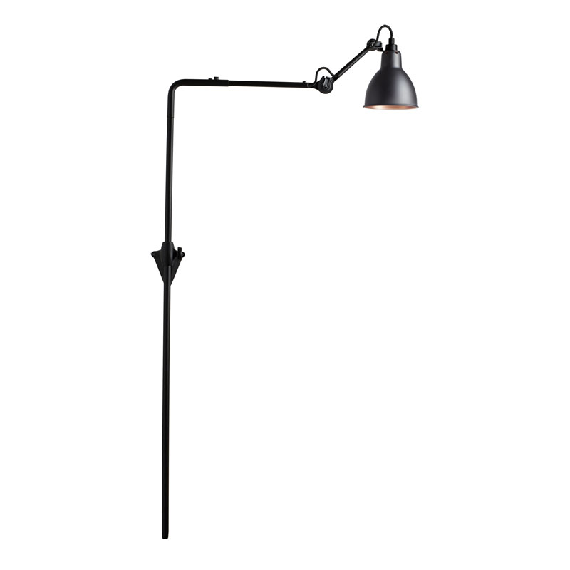 Lampe Gras N216 Plug Switch & Cable Wall Light Black Body Black Copper Shade