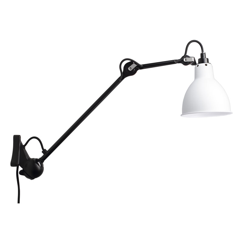 Lampe Gras N222 Plug Switch & Cable Wall Light Black Body White Shade