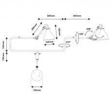 Lampe Gras N303 Plug Switch & Cable Wall Light Line Drawing