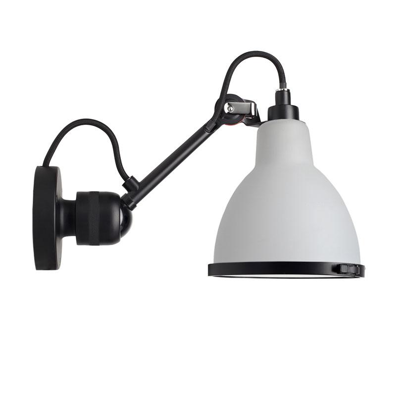 Lampe Gras N304 Bathroom Wall Light Black Body Opal Shade