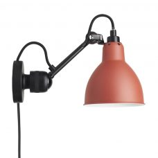 Lampe Gras N304 Plug Switch & Cable Wall Light Black Body Red Shade