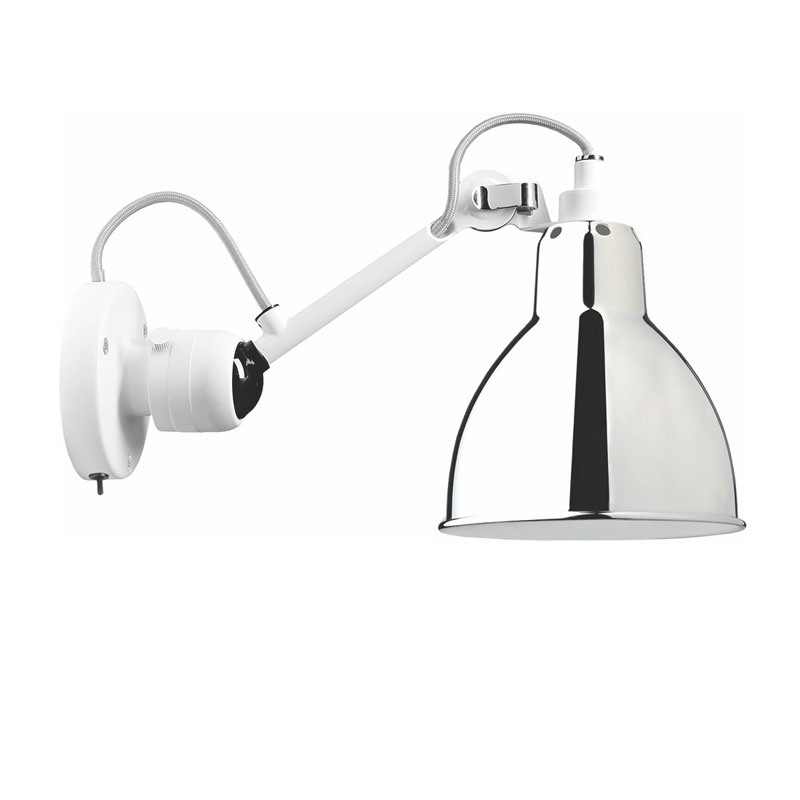 Lampe Gras N304 Switched Wall Light White Body Chrome Shade
