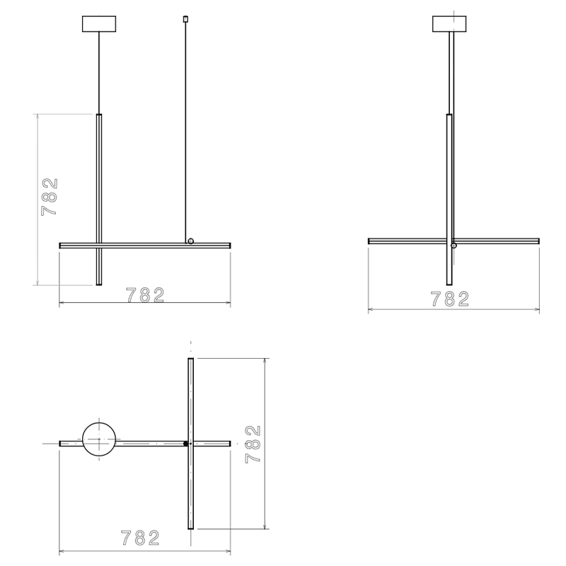 Flos Coordinates S1 Pendant Light Line Drawing