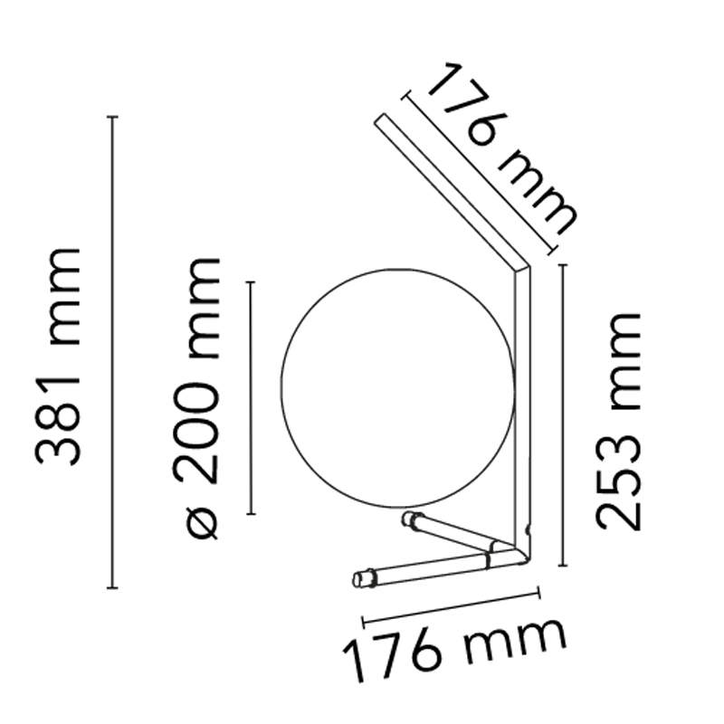 Flos Ic Light T1 Low Table Lamp Line Drawing