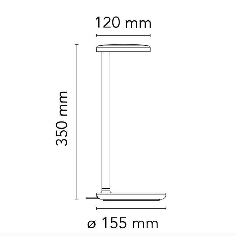 Flos Oblique Qi Table Lamp Line Drawing