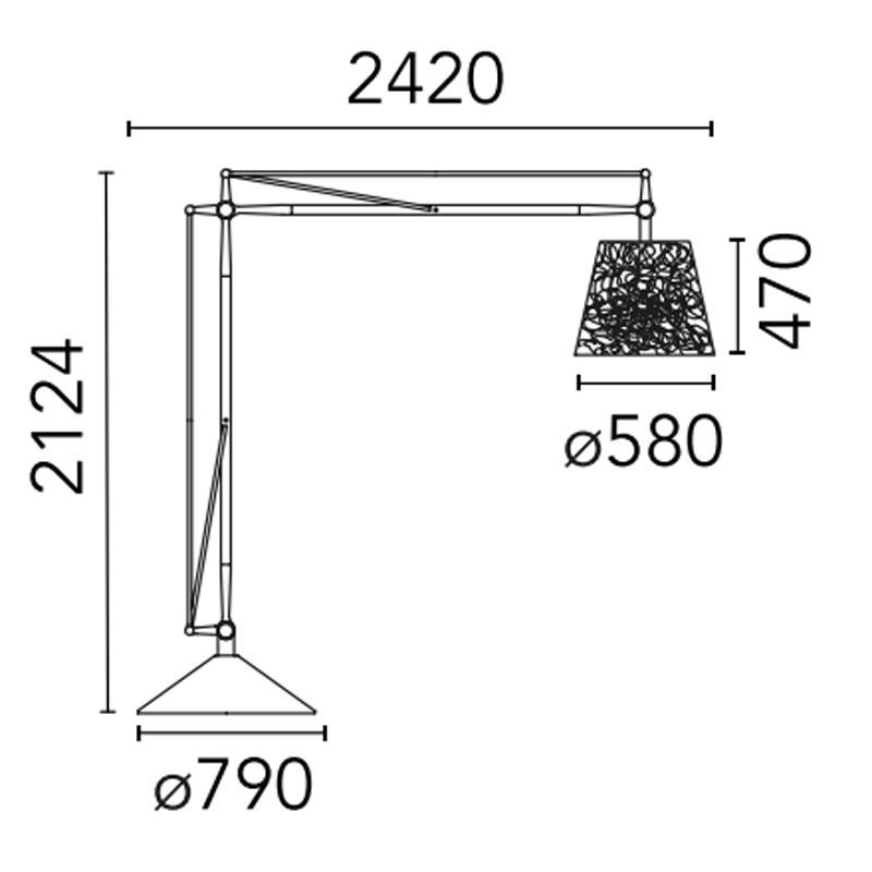 Flos Superarchimoon Outdoor Floor Lamp Line Drawing