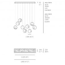 Bocci 28.9 Random Pendant Light Line Drawing