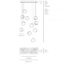 Bocci 28.11 Rectangle Random Pendant Light Line Drawing