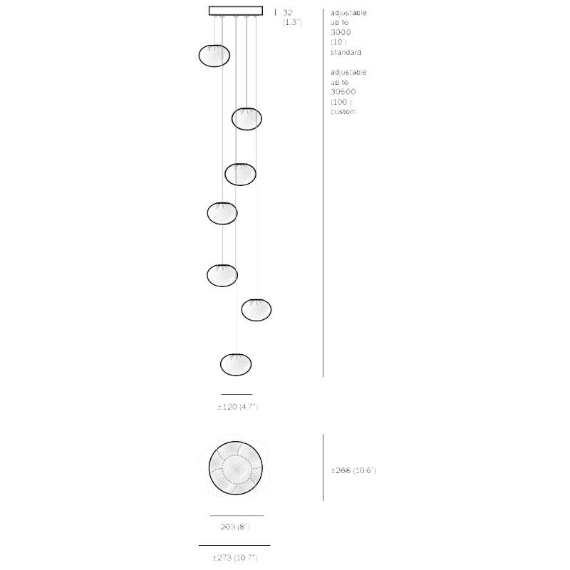 Bocci 84.7 Random Pendant Light Line Drawing