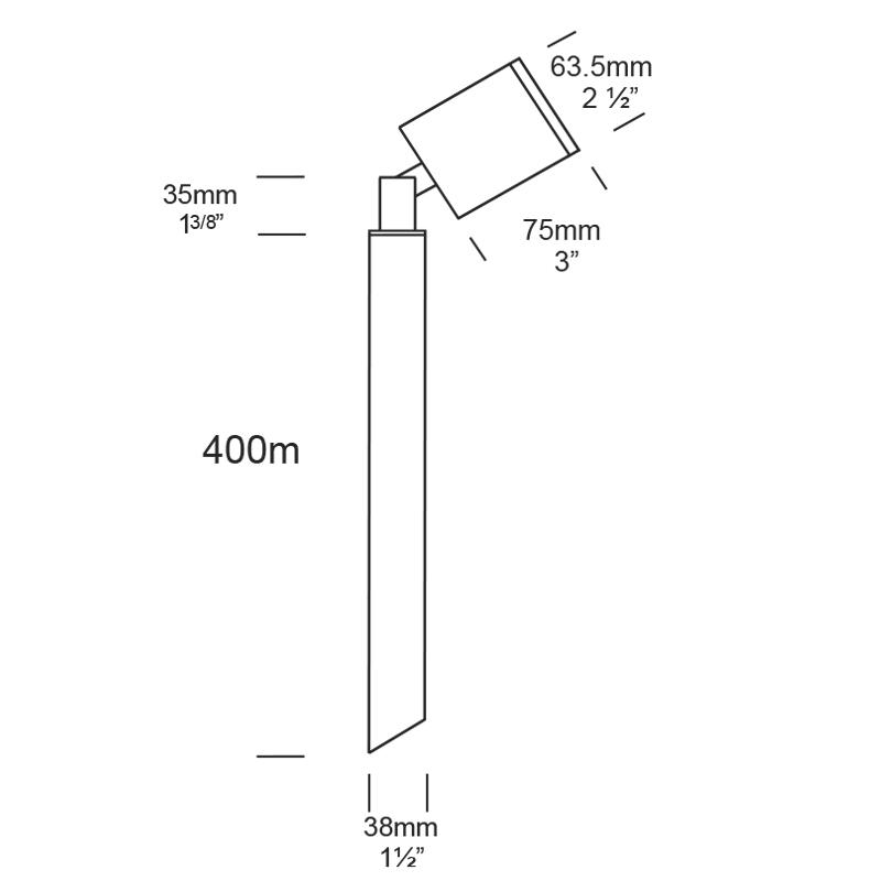 Hunza Pole Spot Gu10 Spike Light Line Drawing