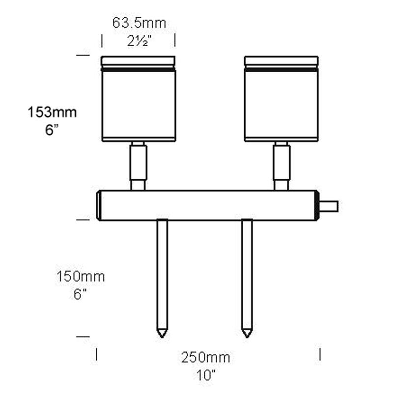Hunza Twin Bar 12v Spike Light Line Drawing