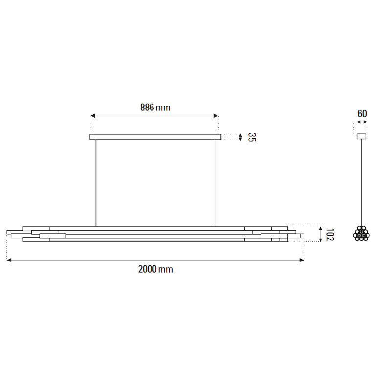 Dcw Org 2000 Horizontal Pendant Light Line Drawing