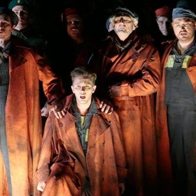 Alexander Miminoshvili as Donald, Iurii Samoilov as Billy Budd, Robert Lloyd as Dansker, Marat Gali as Red Whiskers. Photo by Damir Yusupov/ Bolshoi Theatre