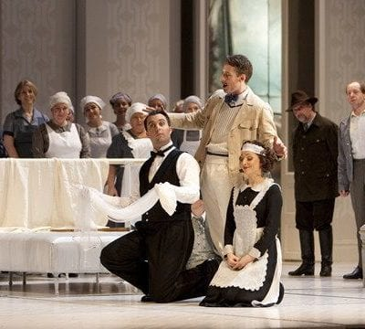 David Soar as the title role in Le Nozze di Figaro for Welsh National Opera. Rosemary Joshua as Susanna