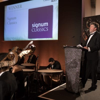 Steve Long, Managing Director of Signum Classics, accepts Label of the Year award at Gramophone Awards 2017 © Benjamin Ealovega