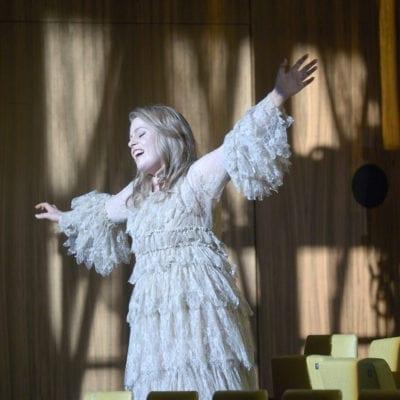 Siobhan Stagg as Gilda (flying) - Rigoletto at Deutsche Oper Berlin - October 2016. Photo credit Bettina Stöss