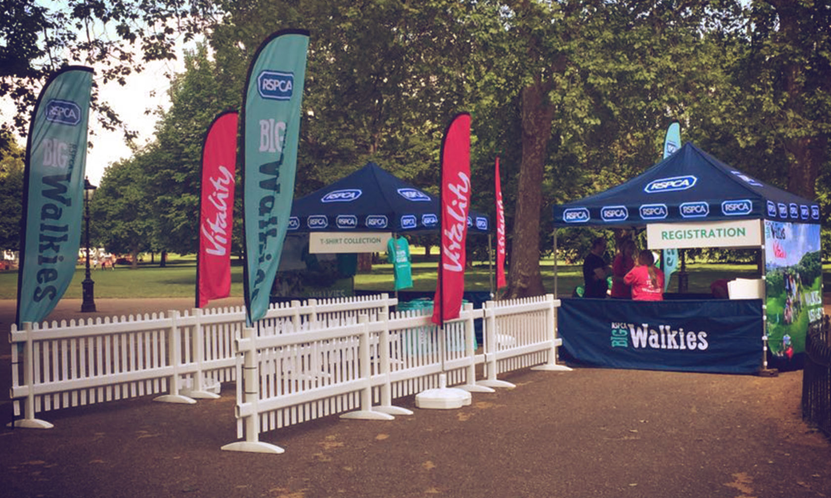 RSPCA flags and gazebos big walkies