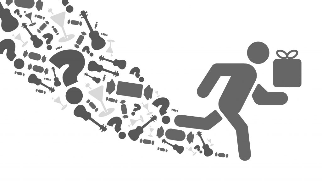 An image showing a silhouette graphic of a man running with a present in his hand surrounded by different gifts