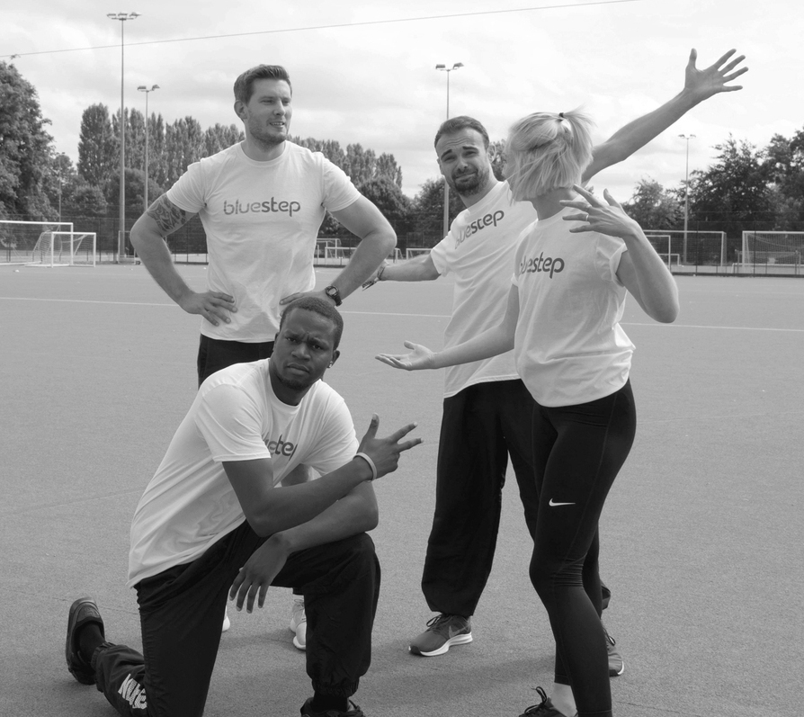 An image showing the Bluestep sports team at the Pacesetters Sports Day