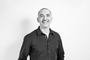 A black and white image of Bluestep's Marketing Manager Paul Meadows
