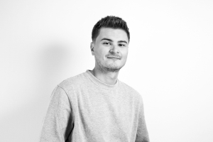 A black and white photo of Bluestep's Charity Account Manager Dario
