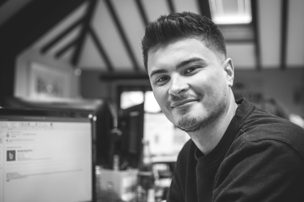 A black and white image of our new Charity Account Manager Dario
