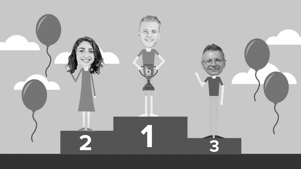 An illustrated image showing October's employees of the month at Bluestep Solutions