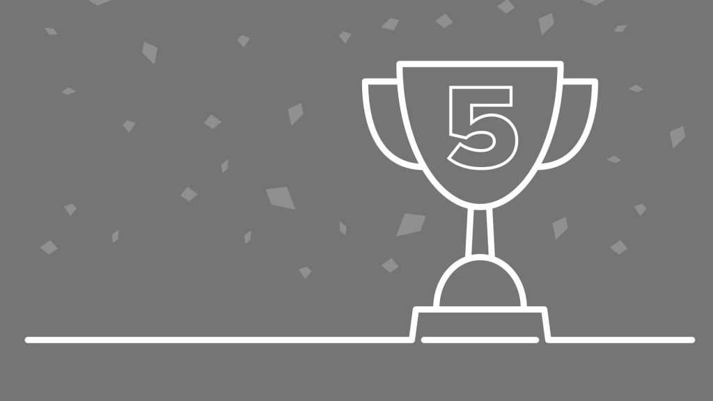 An image showing an illustration of a trophy with the number 5 on it to celebrate Ollie's 5-year anniversary at Bluestep Solutions