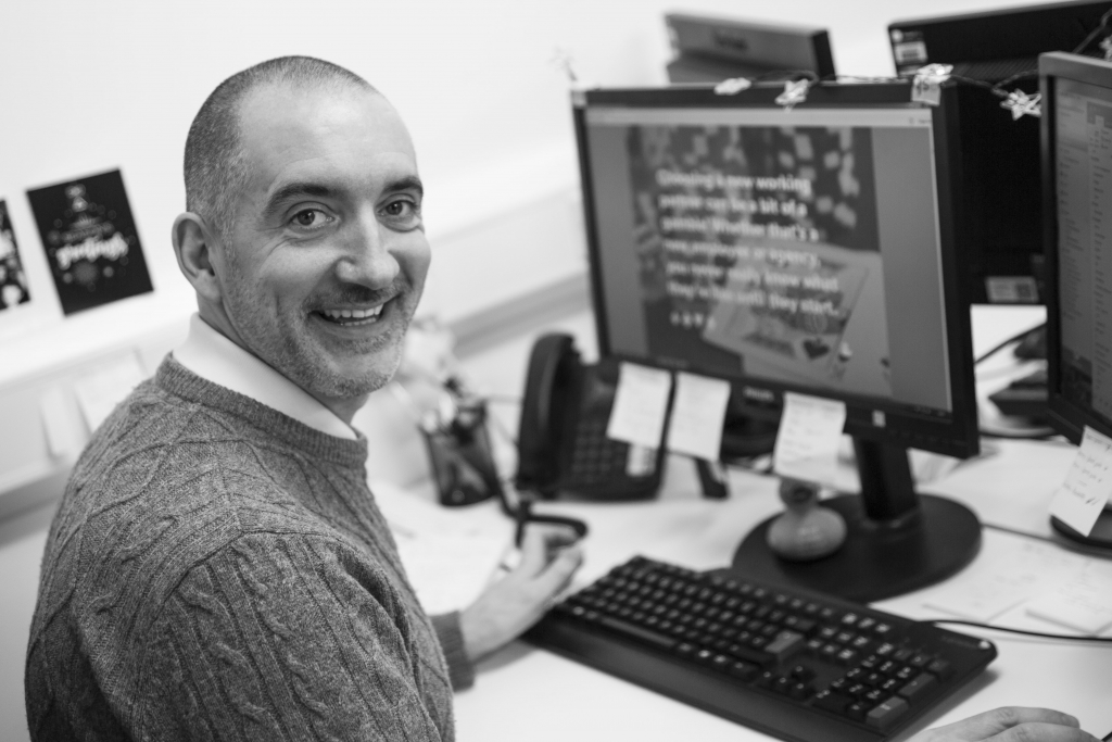 A black and white image of Paul Meadows, Bluestep's new Marketing Manager