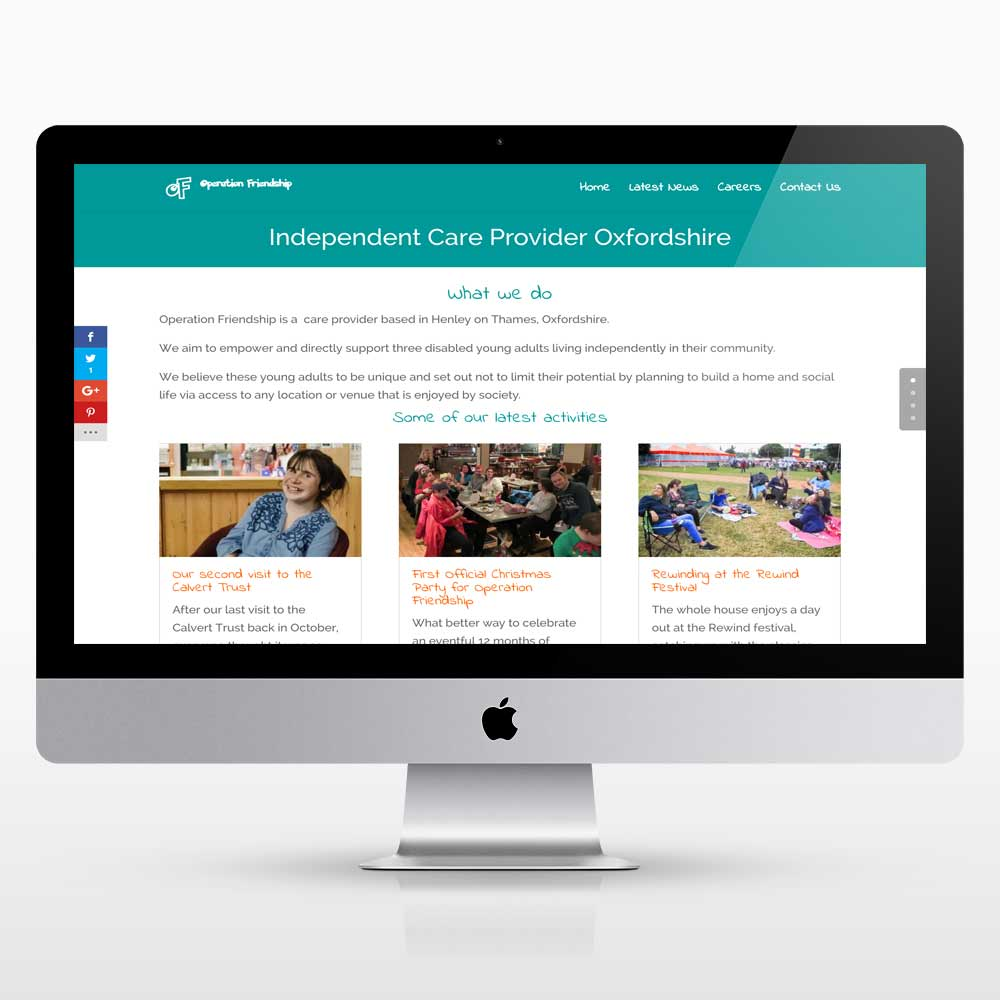A new website design for Operation Friendship developed by Peppard Creative Oxfordshire