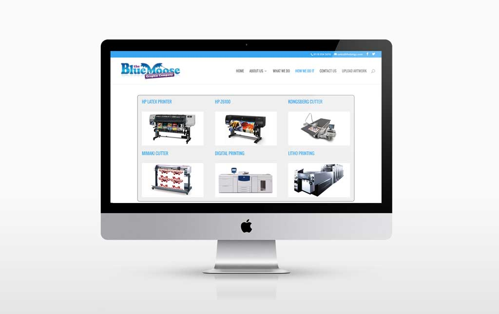 Photo A new webdesign for Reading based Blue Moose Graphic Company