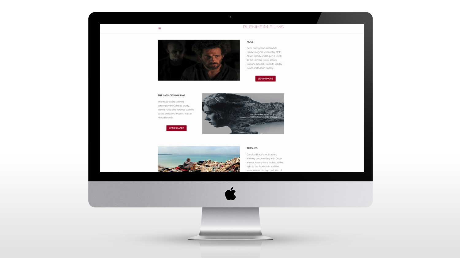 New web design photograph for blenheim films