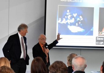 Dr J F Uhl and Dr S Tristram showing a 3D slide