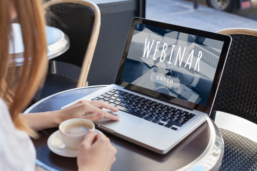 Image of someone attending a webinar