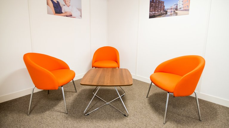 Orange reception chairs